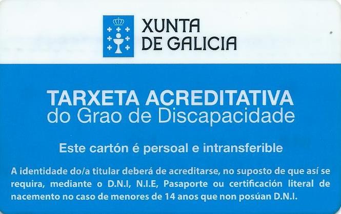 La Xunta de Galicia crea la Tarjeta acreditativa del grado de discapacidad