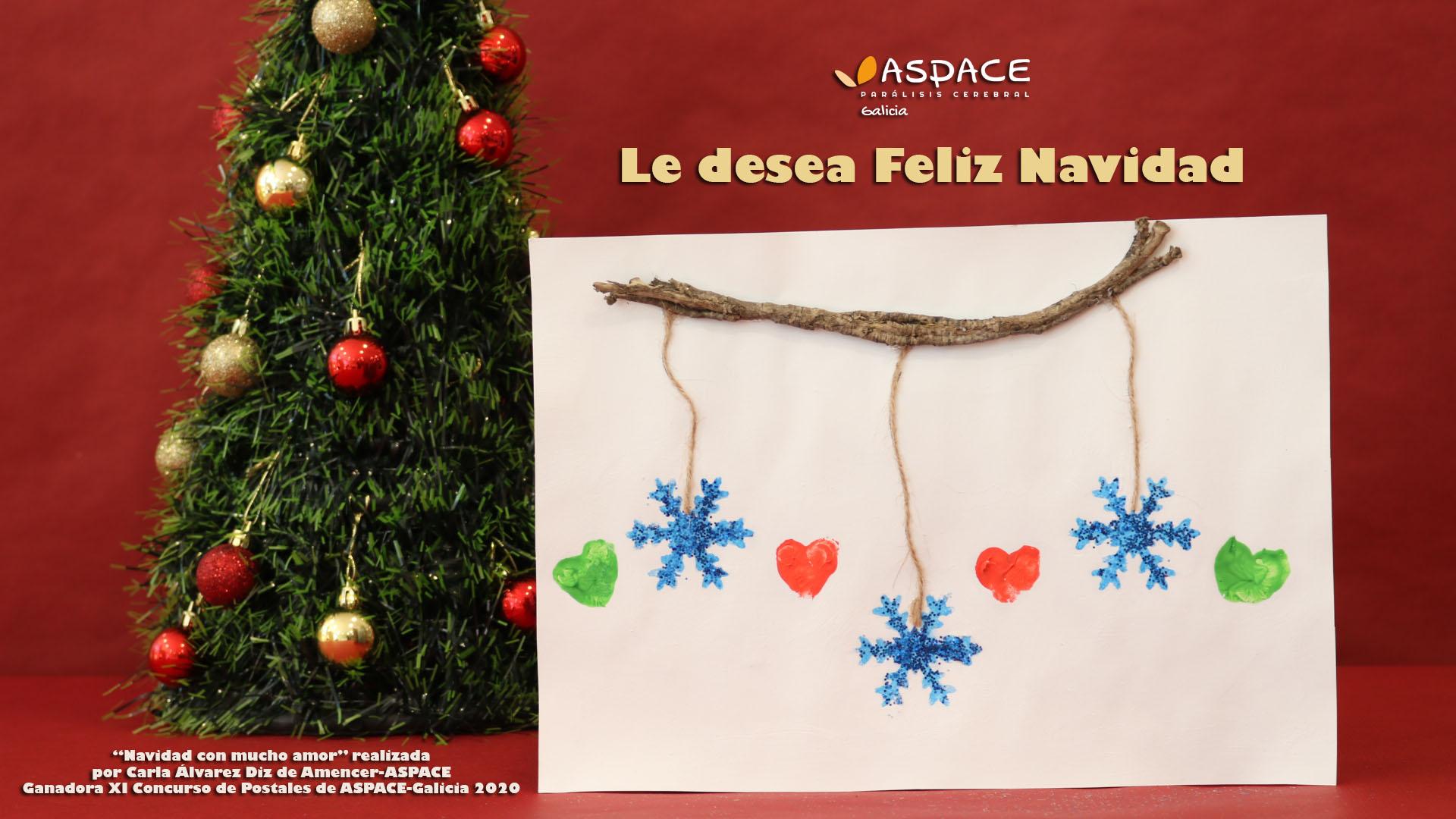 «Navidad con mucho amor», obra ganadora del XI Concurso de postales de ASPACE-Galicia