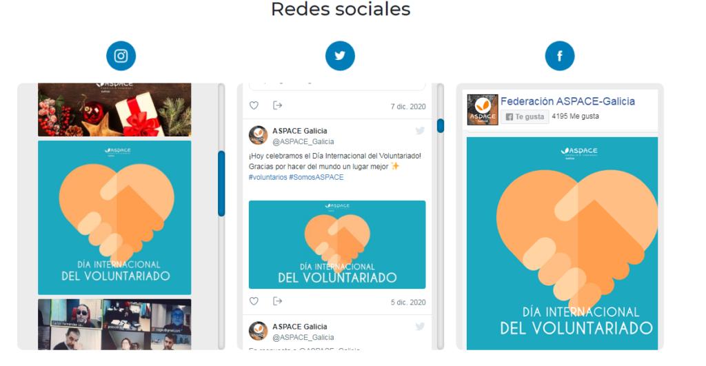 Las redes sociales de Federación ASPACE GALICIA están integradas en la home de la nueva página web